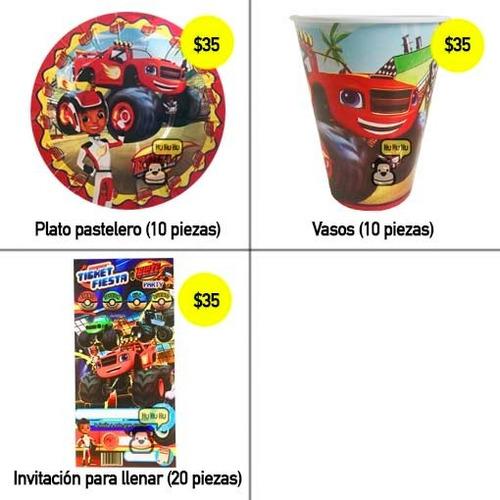 blaze and monster machine - dulceros, vasos, platos, fiesta!