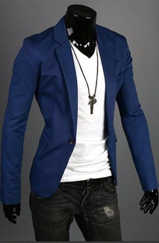 Blazer Azul Rey Jacket Fashion Casual Elegante Coat Hombre ...