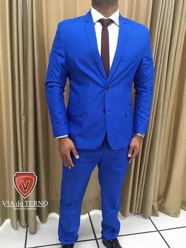 blazer + calça azul royal slim+qualidade+frete grátis!