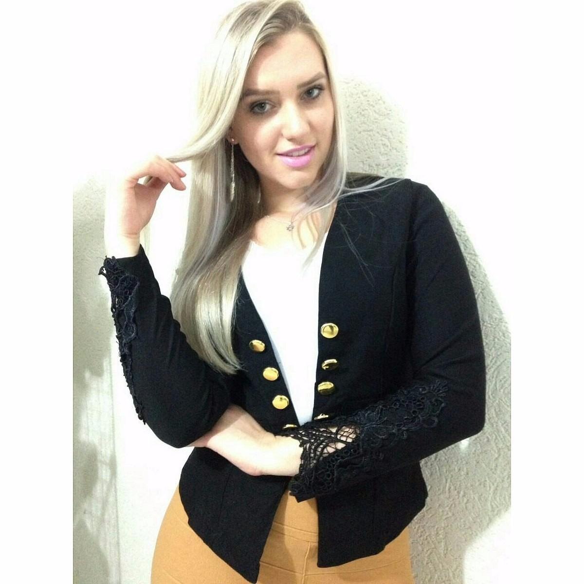 d252dee183 blazer casaco casaquinho com renda guipir e botões feminino. Carregando zoom .