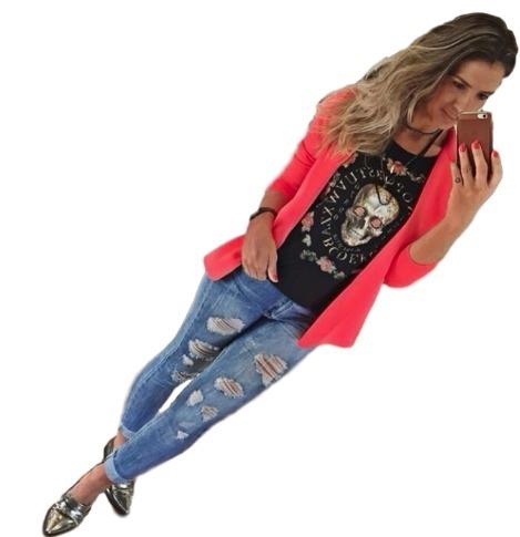 3fcab1728 Blazer Gola Manga Longa Moda Colorido Casaco Feminino Moda - R$ 61 ...