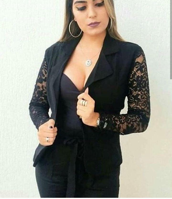 a0419e89e80 Blazer Casaco Feminino Manga Renda Guipir Moda Blogueira - R  74
