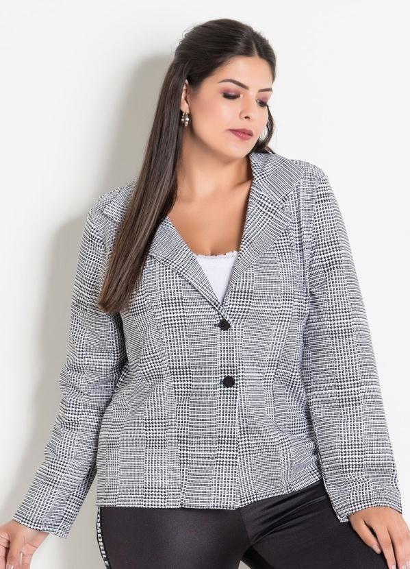 71ace3af44 blazer casaco feminino plus size com botões e estampa xadrez. Carregando  zoom.