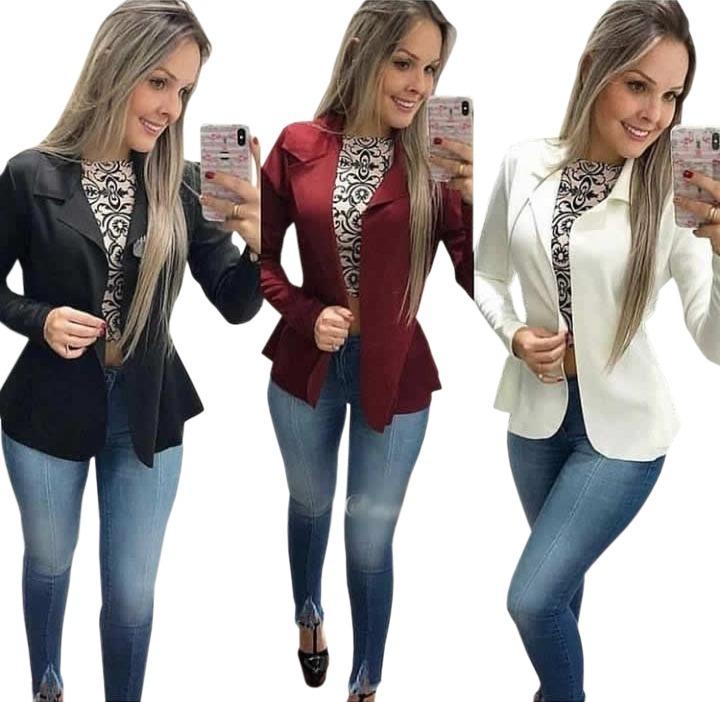ec5747d57e Blazer Casaquinho Feminino Neoprene Casaco Várias Cores 2019 - R  37 ...