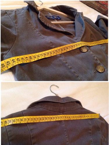 blazer chaqueta campera jeans verde militar - talle m [gr]