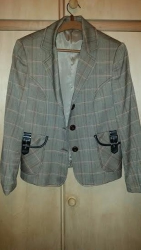blazer chaqueta dama original con hebillas de adorno