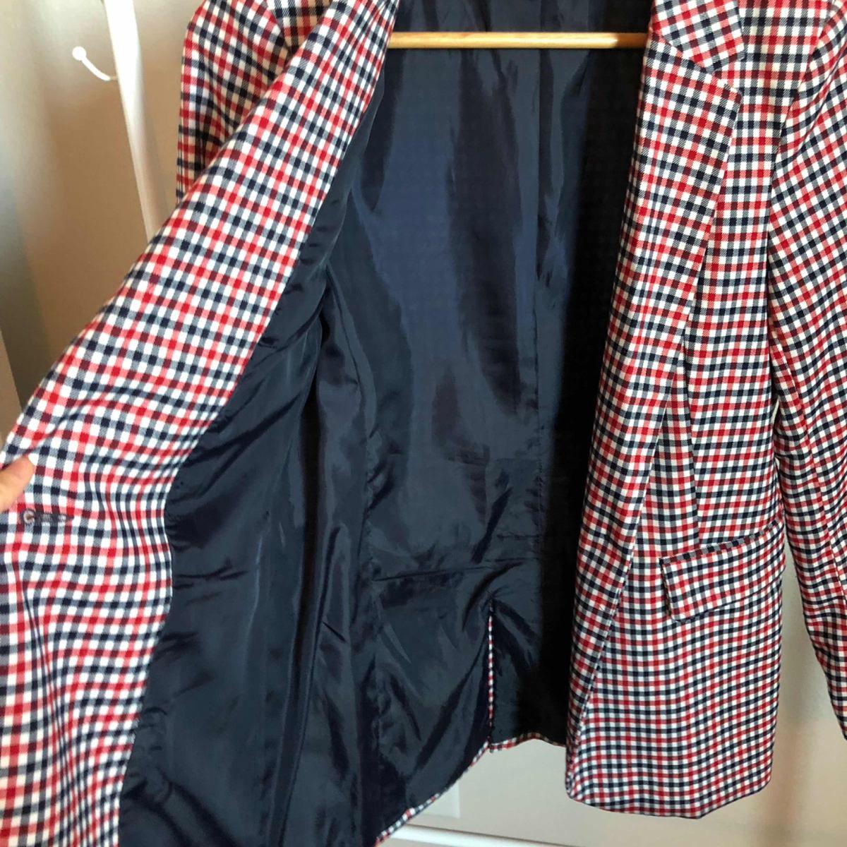 recoger calzado estética de lujo Blazer De Cuadros Azul Con Rojo Marca Stradivarius - $ 320.00