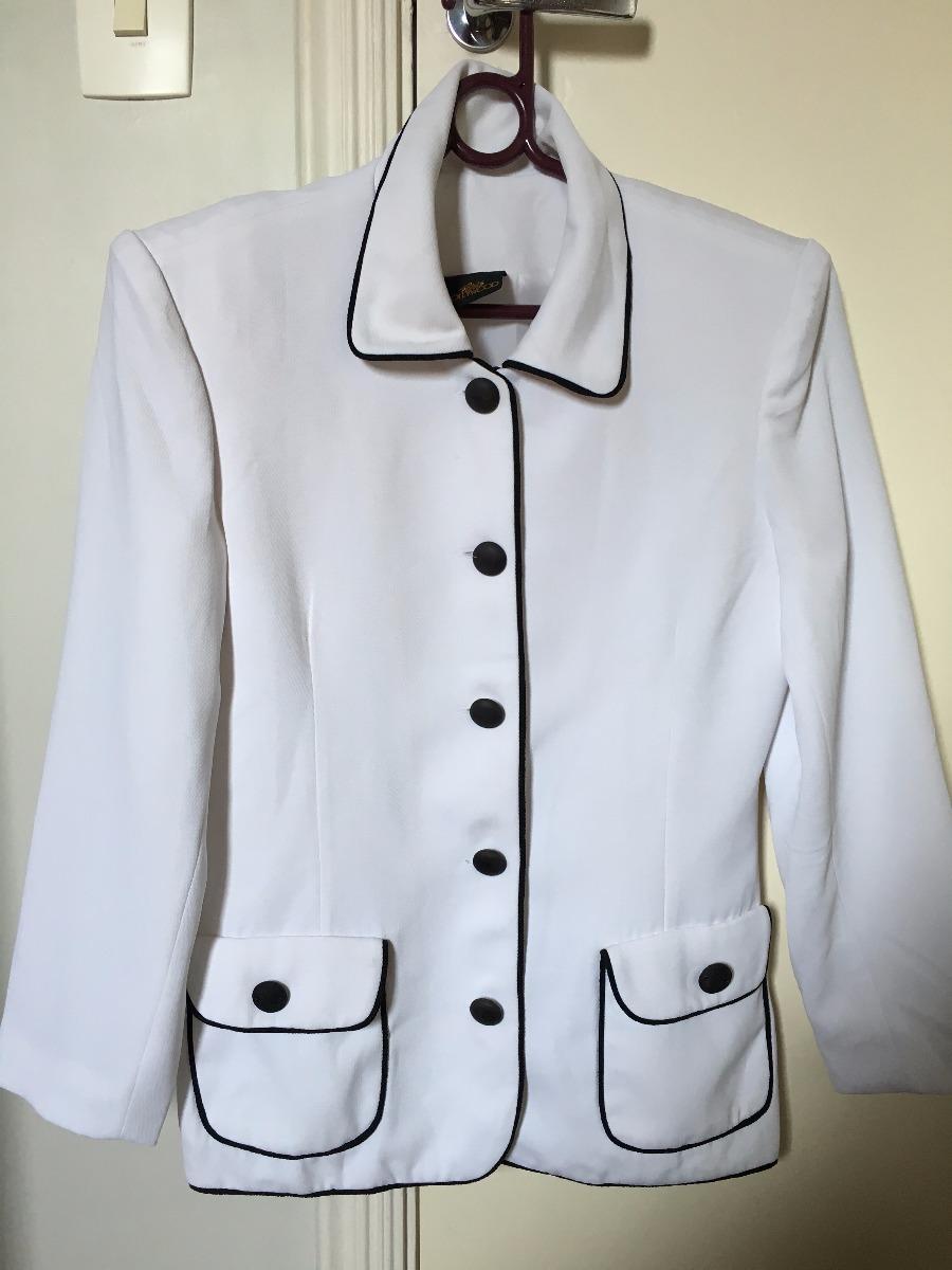 45af7fade5 blazer feminino branco com detalhes em preto - tam m. Carregando zoom.
