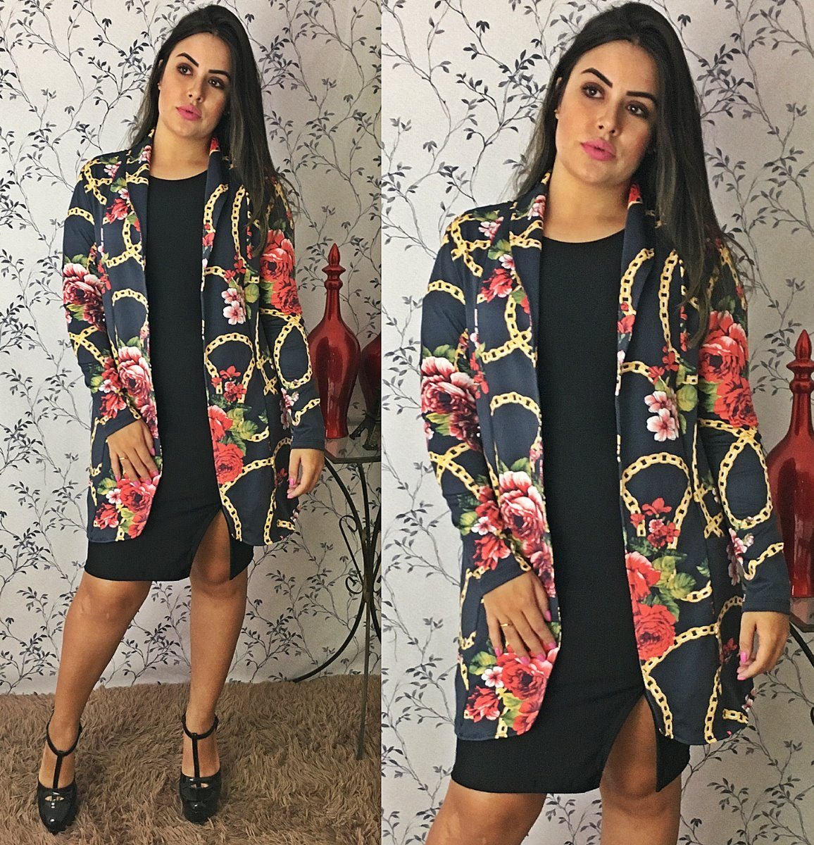 5efe263826 Blazer Feminino Comprido Longo Casaco Cardigan Kimono - R  55