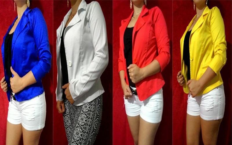 1ad0205a3b blazer feminino colorido botão jaqueta terninho fashion. Carregando zoom.