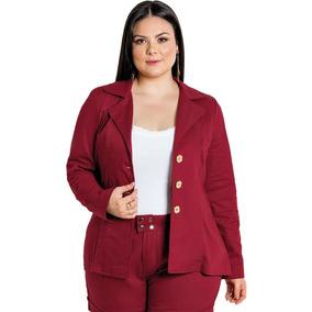 115572493f Blazer Social Em Sarja Plus Size Com Botões Roupas Femininas