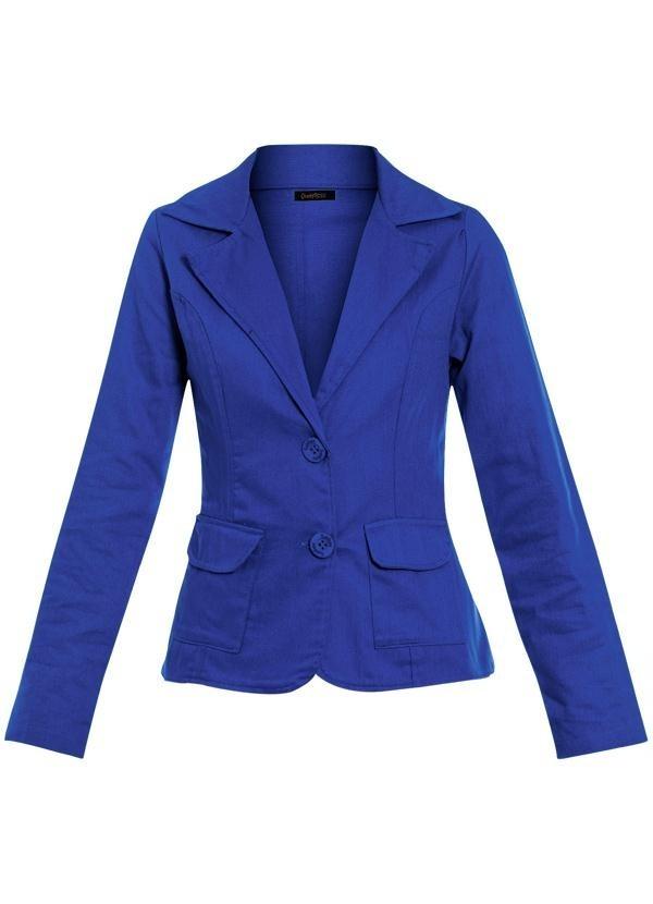 1982a70f7f blazer feminino gola esporte azul bolsos frontais. Carregando zoom.