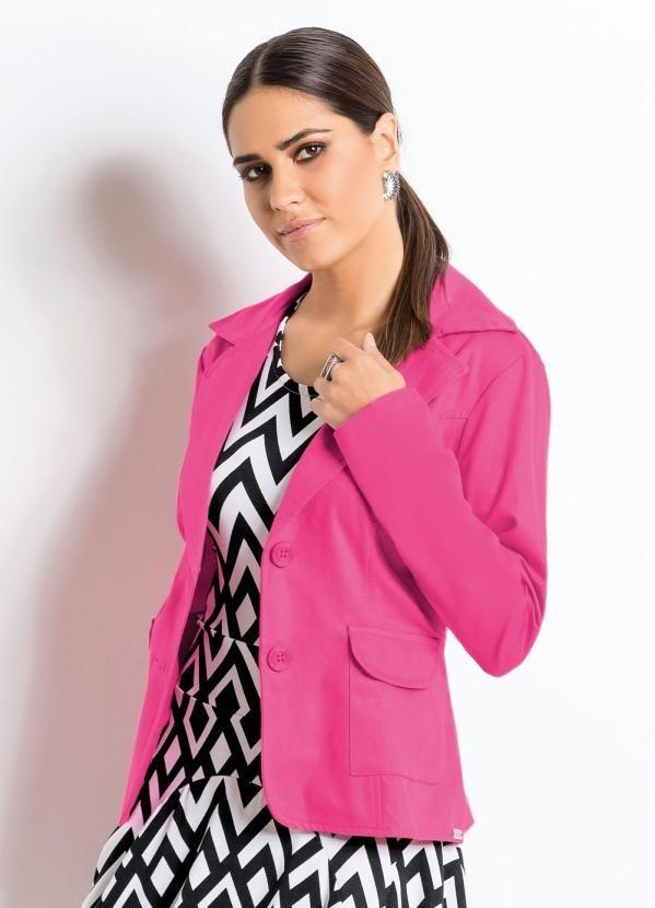 5703e03e14 blazer feminino gola esporte pink bolsos frontais. Carregando zoom.