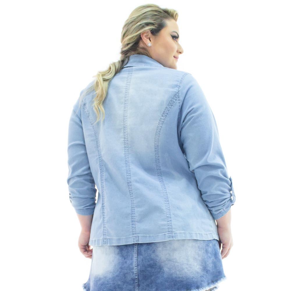 afc82533b7 blazer feminino jeans alongado aberto plus size bzj069. Carregando zoom.