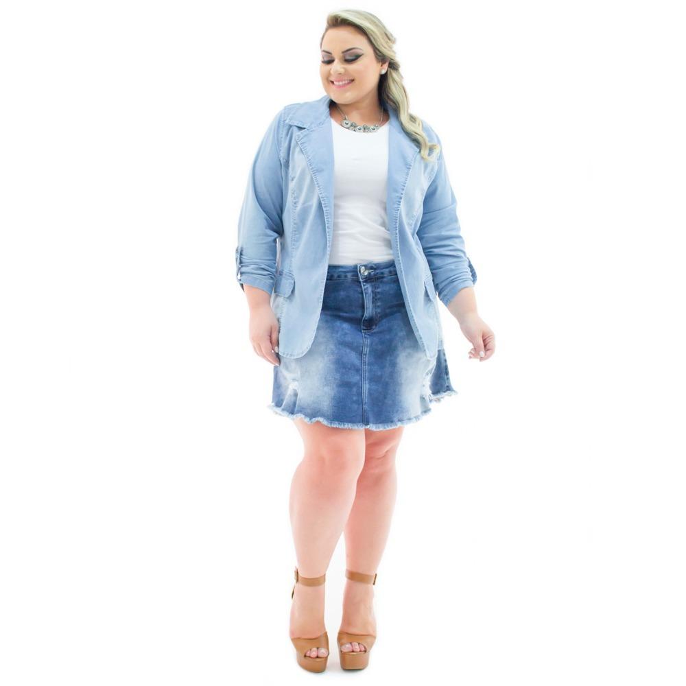 7643d3b8e7 blazer feminino jeans alongado aberto plus size bzj069. Carregando zoom.