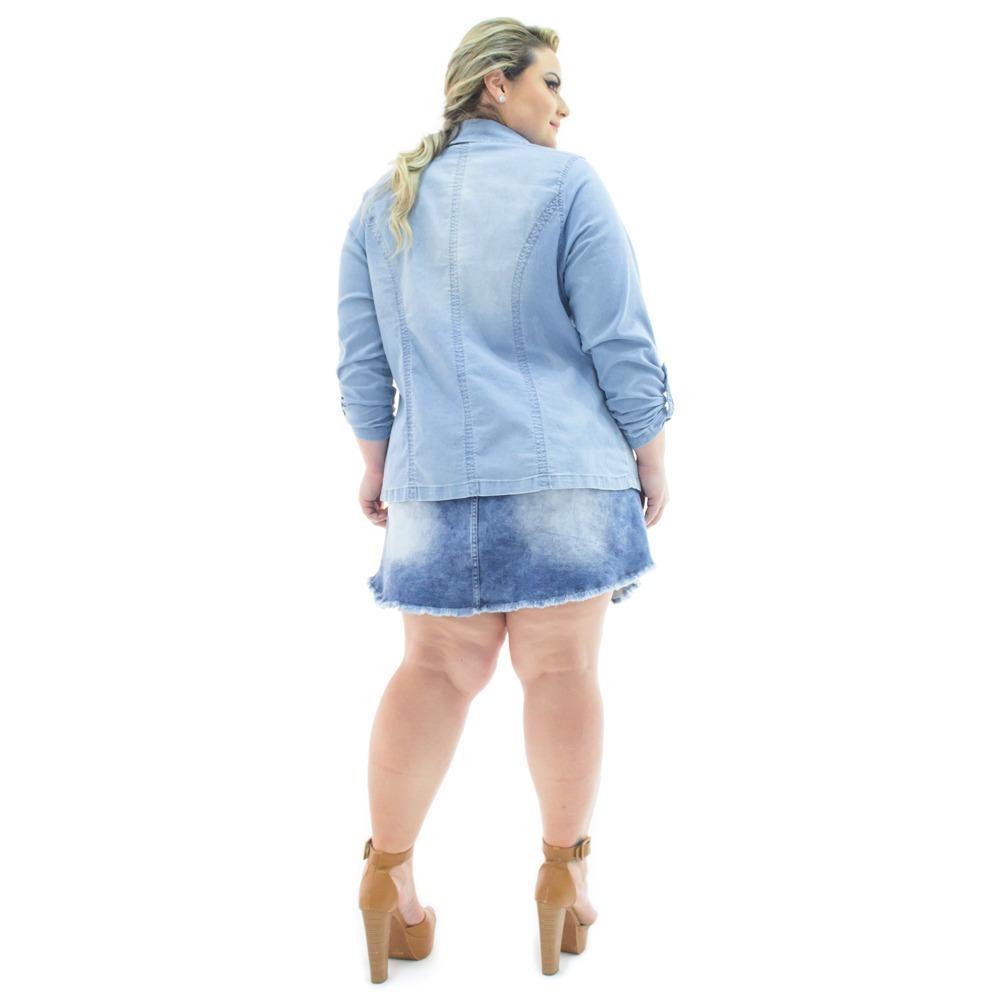acbf96d93a blazer feminino jeans alongado aberto plus size bzj069. Carregando zoom.