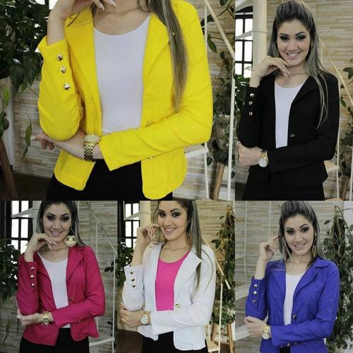 blazer feminino lindas cores botões dourados pronta entrega