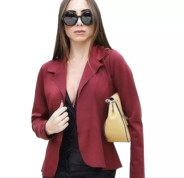ced6ea61a Blazer Feminino Neoprene Terninho Acinturado Casaco Barato - R$ 38 ...