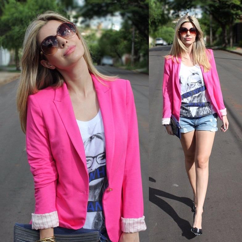 the best attitude 47370 c07f4 Blazer Feminino Rosa Da Zara / Casaquinho Forrado Barato