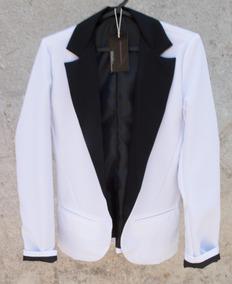 b3602dc435 Blazer Branco Com Detalhes Preto Femininos - Casacos no Mercado Livre Brasil