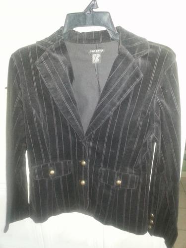 blazer negro con rayas para damas