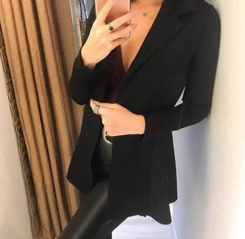 blazer neoprene longo casaco terninho feminino acinturado