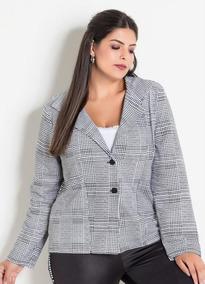 4c2c7aac15 Blazer Casaco Feminino Plus Size Xadrez Ou Floral Lançamento