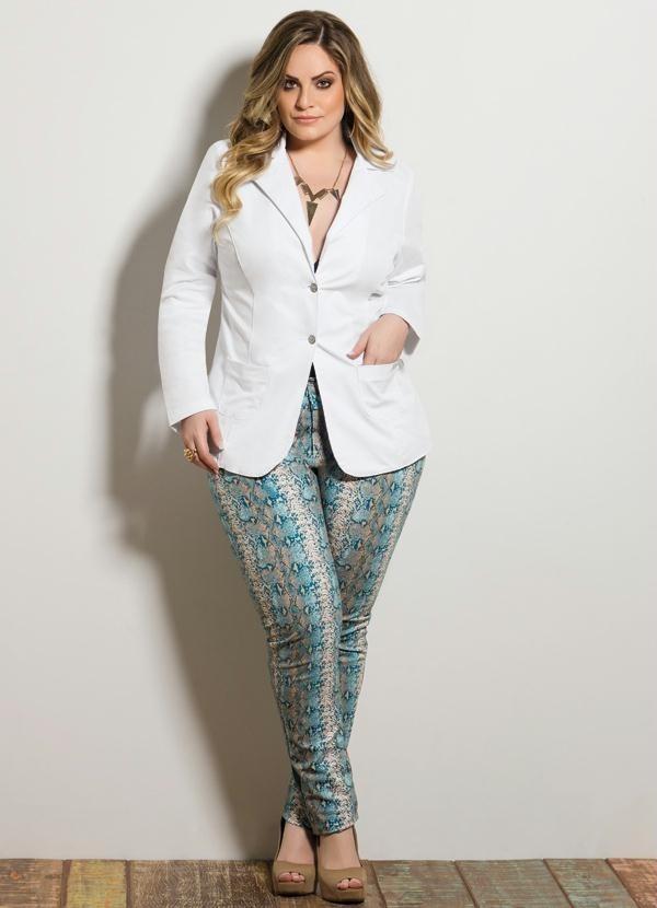 c4d0537639 blazer plus size terno casaco branco roupas femininas. Carregando zoom.