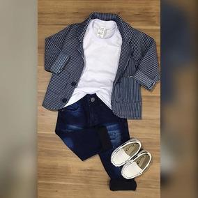 aa0ec0a04 Blazer Risca De Giz Calça Jeans Camiseta Basica Mocassim