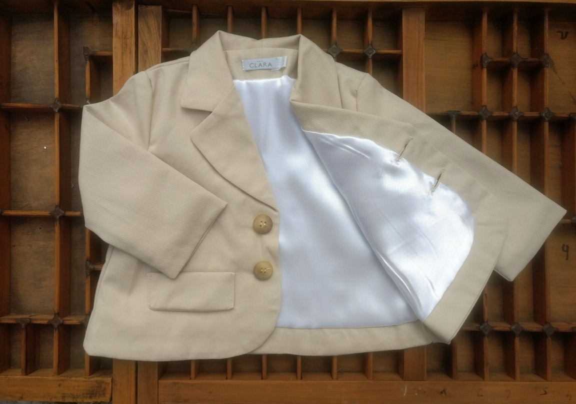 blazer saco gabardina beige clara clares bebé niño bautismo. Cargando zoom. e25ca42ab356