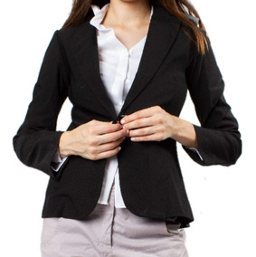 Blazer Saco Mujer Largo Elastizado Entallado Vestir Negro