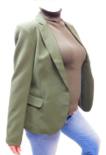 blazer saco studio f verde olivo, bolsillos costados xs,s