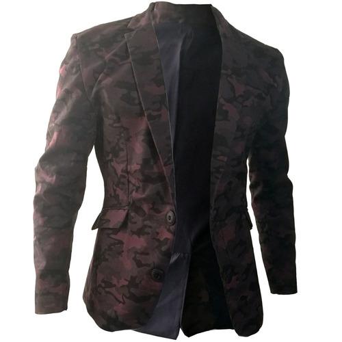 blazer slim fit 2 botones casual hombre drill camuflado