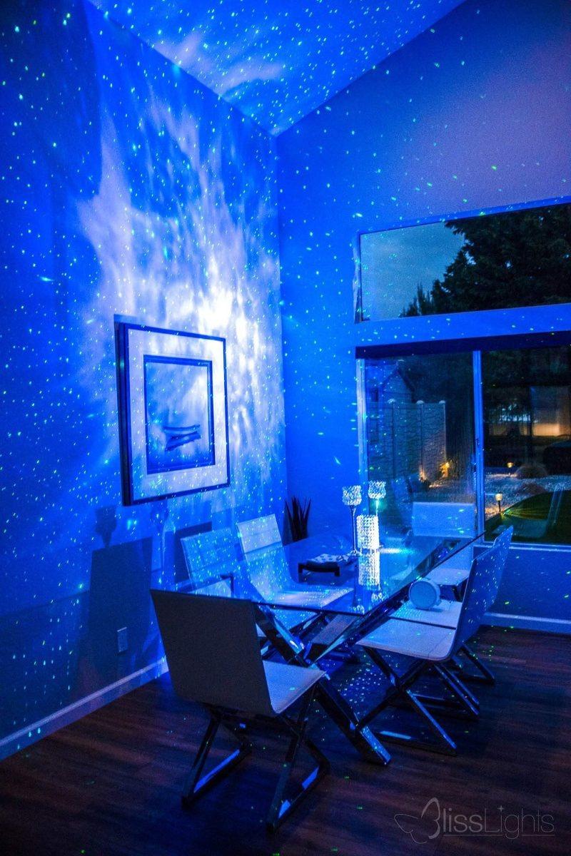 BlissLights Sky Lite Blue Laser Projector w//LED Nebula Cloud for Game Rooms