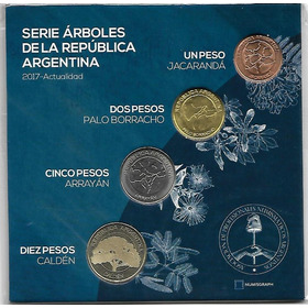 Blister 4 Monedas Serie Arboles $ 1, 2, 5 Y 10 Pesos Palermo