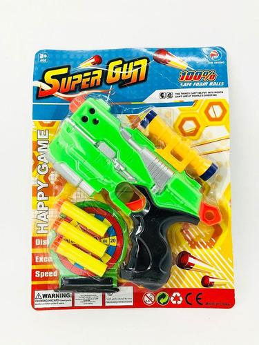 blister pistola super gun lanza dardos con mira y centro
