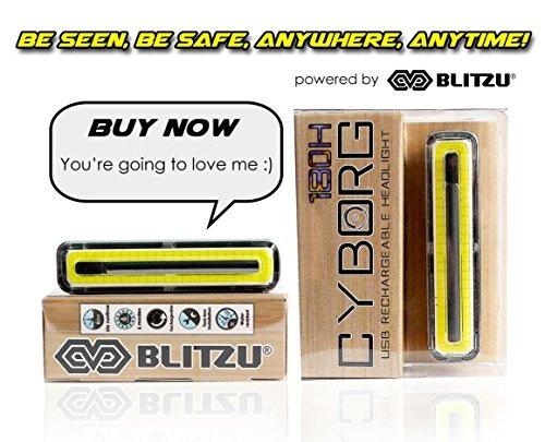 blitzu cyborg 180h luz de la bici super bright usb recargab