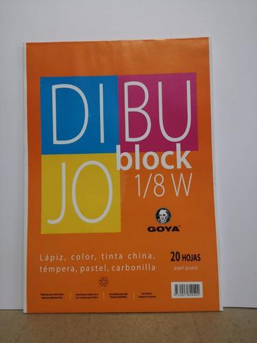 block 1/8w papel grueso, 20 hojas