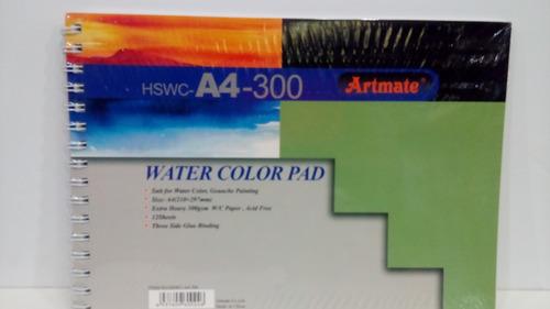 block artmate para acuarelas 300 gs. tamaño a4-12 hojas