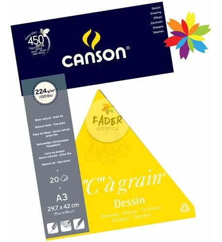 block canson c a grain 224 gramos 20 hojas a3 barrio norte
