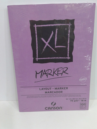 block canson marker xl 70gs tamaño a4 100 hojas microcentro