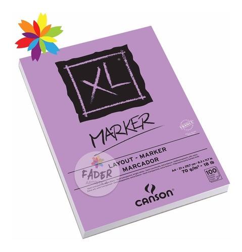 block canson xl marker tamaño a4 70 gramos 100 hojas