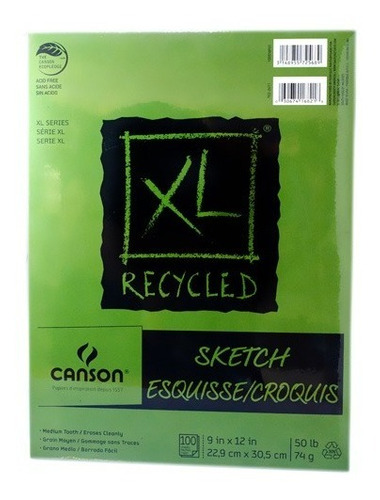 block canson xl recycled sketch reciclado 22.9x30.5cm 74 g