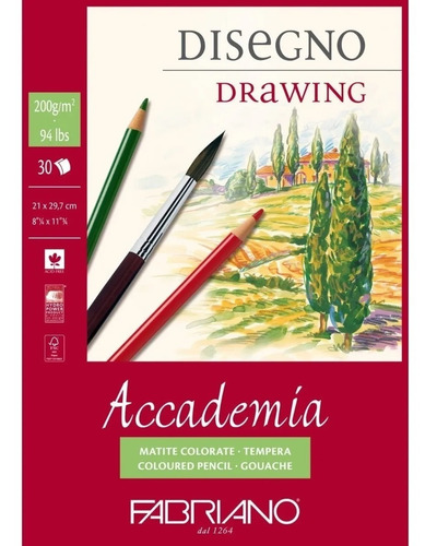 block fabriano accademia drawing 200gm 29.7x42cm c/30 hojas