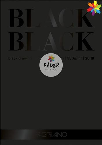 block fabriano black black a4 300grs hoja negra barrio norte