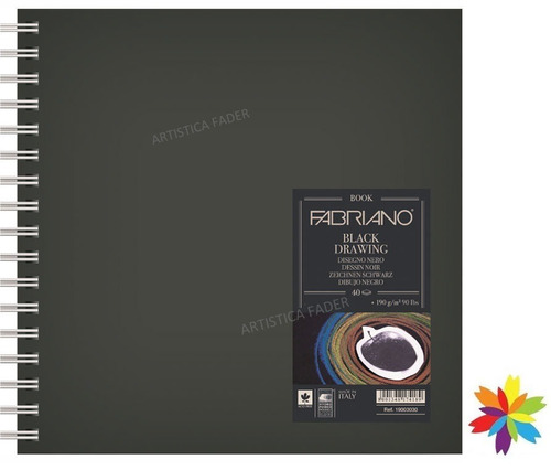 block fabriano black drawing 30 x 30 cm 40 hojas 190 grs