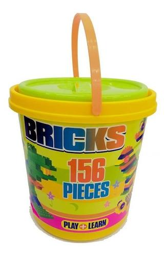 block infantil de encastre en balde 156 piezas juguetes