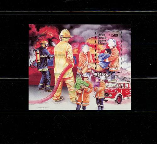 block souv. de chile nº 75. 100 años cuerpo bomberos temuco.
