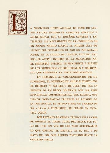 block souvenir de chile nº 15. 50º aniv. leonismo internaci.