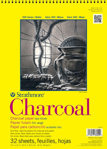 block strathmore charcoal, 32 hojas 11inx17in (27.9x43.2cm)